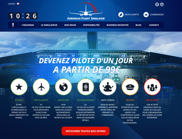 European Flight Simulator - site e-commerce